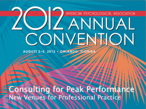 Consulting for Peak Performance- New Venues for Professional Practice