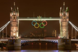 Tower Bridge at night displays the Olympic Rings